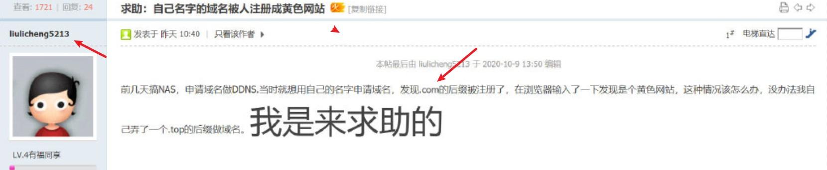 一些网民发现他们名字的域名已经注册为不可描述的网站!