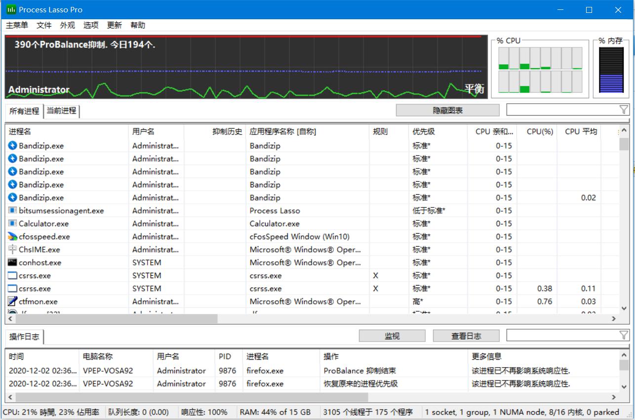 Process Lasso CPU提升(防突发性高负荷、提升手机游戏特性、防电脑蓝屏) 9.8.8.7